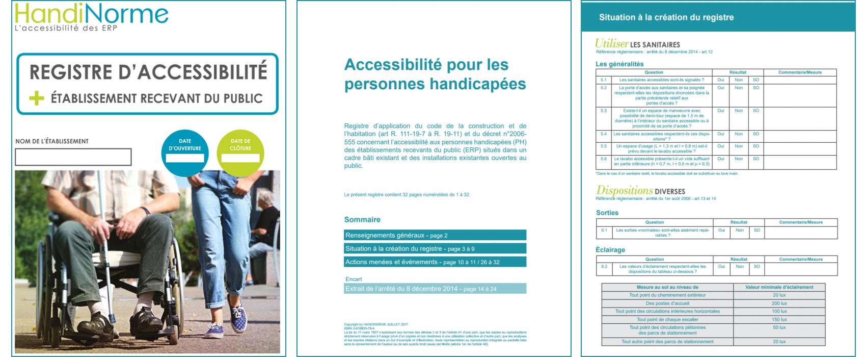 Registre d'accessibilité en format papier par Handinorme